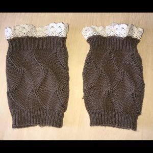 Brown knitted boot socks